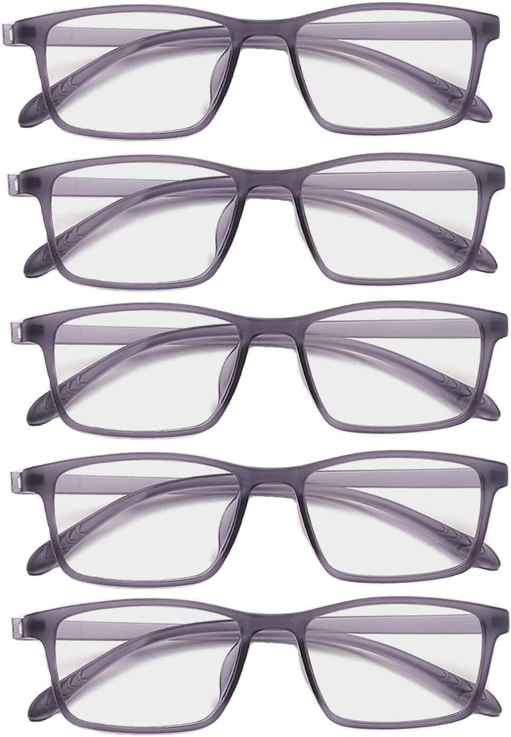 L-LIPENG Gafas de Filtro de Luz Azul, Gafas de Ordenador con Lente de Película Verde, Gafas Lectura Reduce Fatiga - 100% Protección UV/Radiacion - Marco Ultraligera de Moda (Paquete de 5),Gris,+1.5