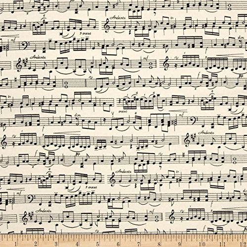 Music Fabric - Timeless Treasures Sheet Music Cream Fabric By The Yard