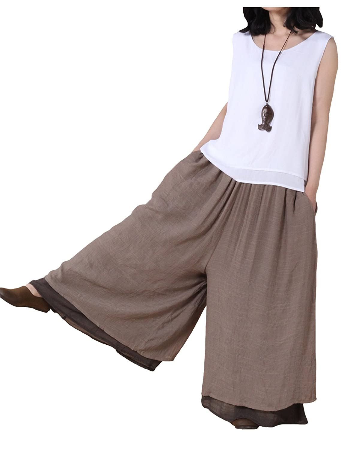 Women's Casual Double Layer Khaki-on-Black Loose Fit Wide Leg Cotton Chinese Pirate Pants by Mordenmiss - DeluxeAdultCostumes.com
