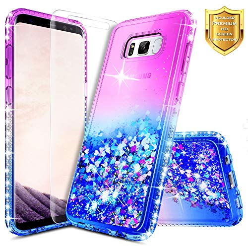 S8 Plus Case, Galaxy S8 Plus Glitter Case w/[Screen Protector Premium Clear], NageBee Liquid Quicksand Waterfall Flowing Sparkle Bling Diamond Girls Cute Case for Samsung Galaxy S8 Plus -Purple/Blue