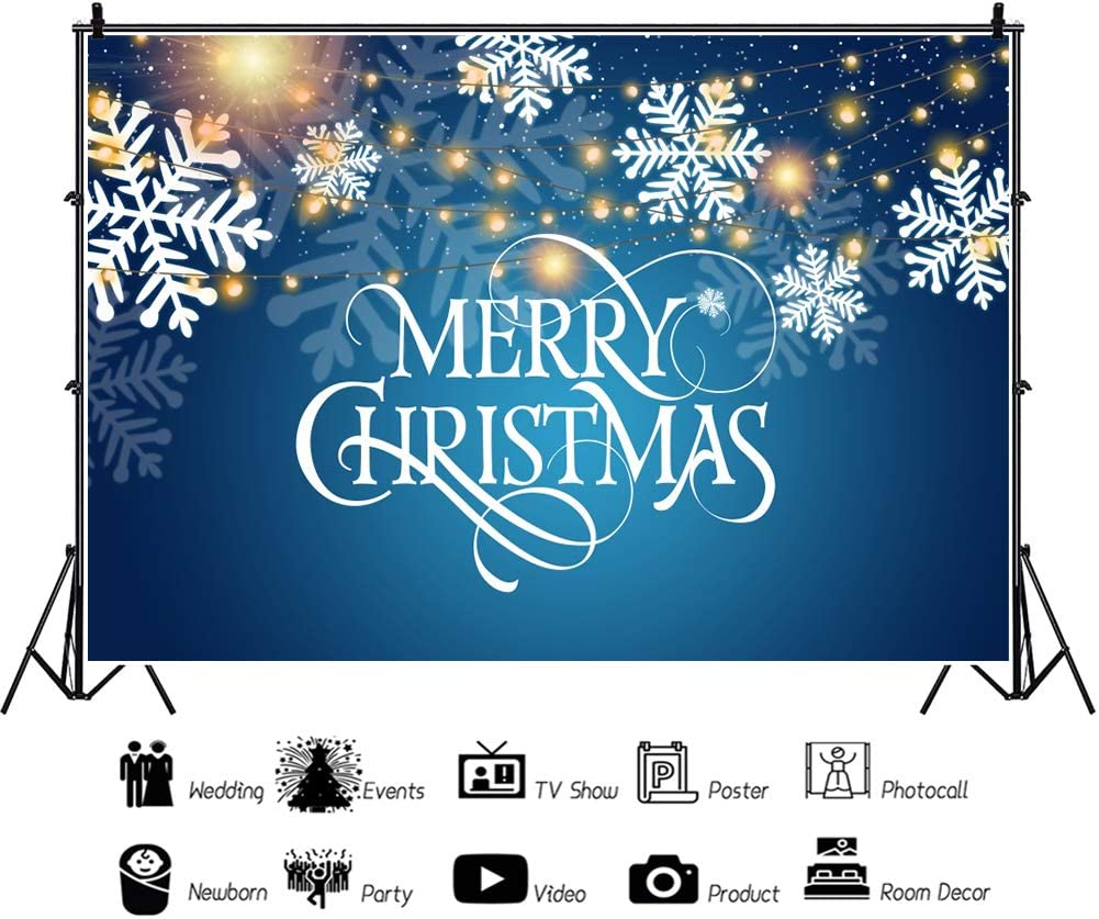LFEEY 5x3ft Vinyl Christmas Theme Photography Background Abstract Gold Light Facula Snowflake Petal Merry Christmas Banner Newborn Baby Adults Portrait Photo Backdrop Xmas Party Decor Studio Props