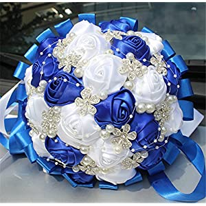 and Made Diamond Pearl Silk Roses Bridesmaid Bridal Artificial Bouquets Customization Bride Holding Bouquet Durable Wedding With Corsage Flower 18cm 59