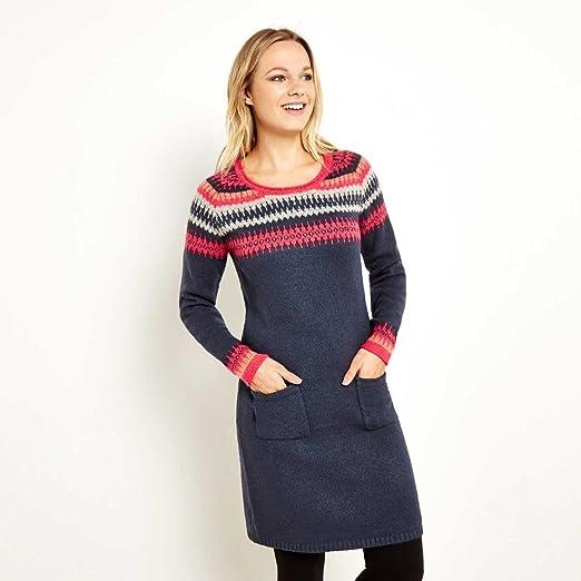 Weird Fish Fonda Fair Isle Knitted Dress Dark Navy Size 18: Amazon ...