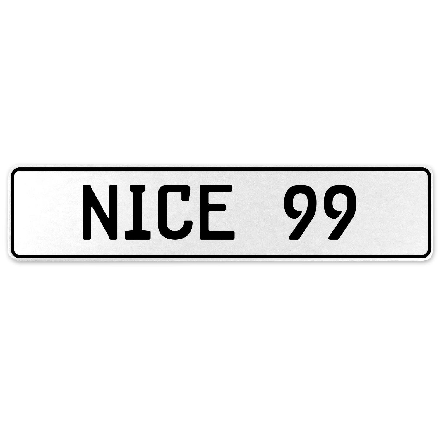Vintage Parts 555290 Nice 99 White Stamped Aluminum European License Plate