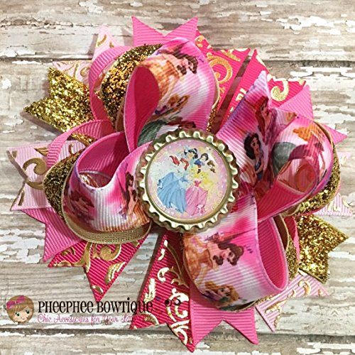 Sleeping Beauty Princess Hair Bow Auora Bow Clip Pink Sleeping Princess Best gift Hand crafted gift Best Child gift