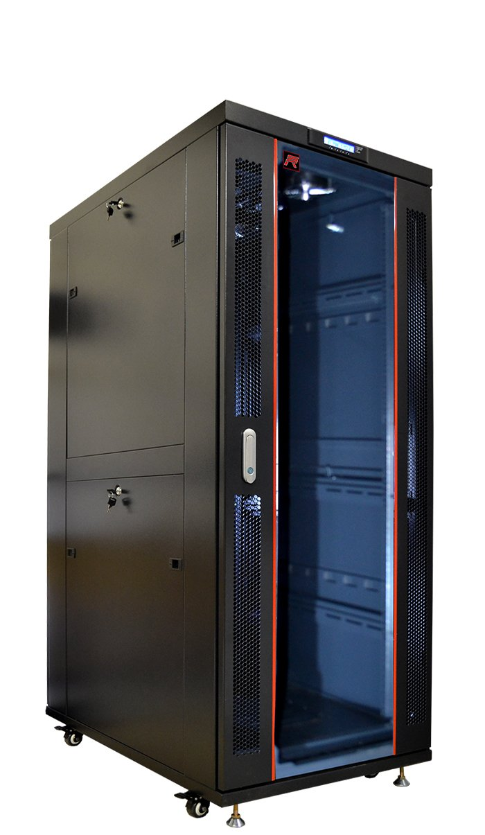 32U 35'' Deep IT Free Standing Server Rack Cabinet Enclosure. Fits Most 19'' Equipment. BONUS Free!!! Temperature Control System, Casters, LED-Screen, PDU and other accessories included!!
