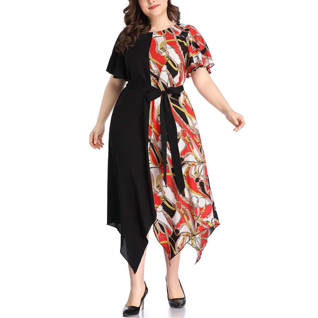 Short Bell Sleeve Print V Neck Women's Maxi Dress Party Dress Irregular Hem Patchwork Dress Purple by Jianekolaa_Dress (Image #2)
