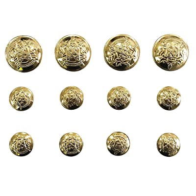 12 Pieces Vintage Metal Blazer Button Set with Shank - for Blazer, Suits, Sport Coat, Uniform, Jacket (Gold) Q2480: Arts, Crafts & Sewing
