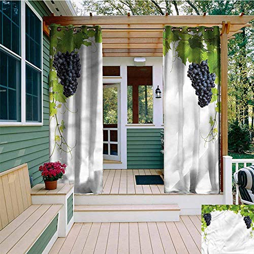 Beihai1Sun Outdoor Blackout Curtain,Vineyard Wine Leaves in Village,for Porch&Beach&Patio,W72x108L