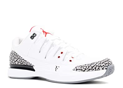 00dbb700bb3bb7 Nike Mens Zoom Vapor AJ3 Roger Federer White Fire Red-Cement Grey Leather  Athletic