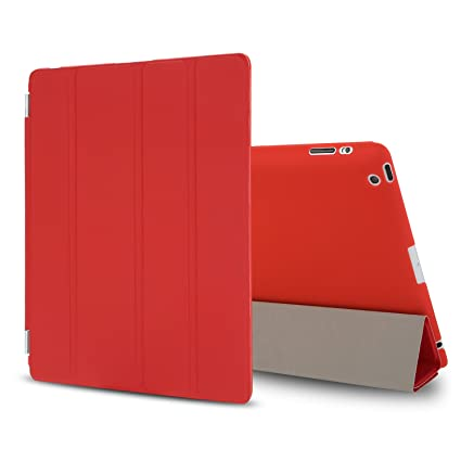 Besdata PT25_26 Ultra Thin Magnetic Smart Cover for iPad 2, iPad 3 and iPad 4 with Screen Protector, Cleaning Cloth and Stylus - Red