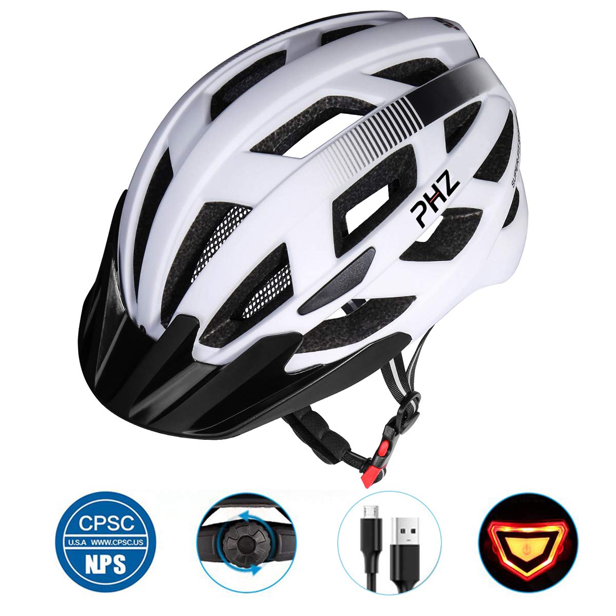 PHZ. Adult Bike CPSC Certified Helmet with Rechargeable Led Back Light/Detachable Visor Ideal for Road Ride Mountain Bike Bicycle for Men and Women ... by PHZ.