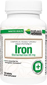 Nature's Wonder Iron (Ferrous Sulfate) 65mg Supplement, 120 Count