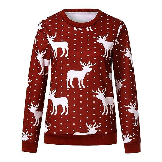 Mujeres Navidad , Modaworld Suéter de Navidad para Mujer Jersey de Cuello  Redondo Estampado Sudadera Estampado Elk Prendas de Punto Top de Manga Larga  ... 43a4c016c661