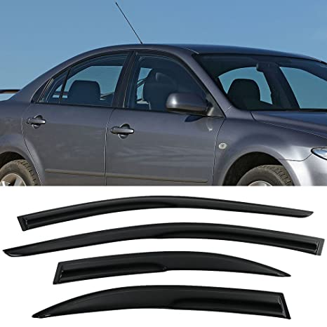 Amazon Window Visors Fits 2003 2008 Mazda 6 Sedan Smoked Aero