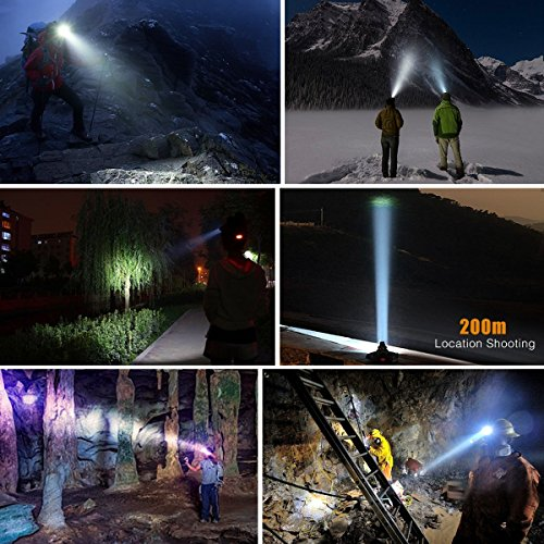 DABASO Rechargeable Headlamp,Adjustable Headband and 90 Degree Moving Light,8000 Lumen Waterproof LED Headlight with 4 Brightness Modes for Running Camping Cycling Fishing Hunting Climbing by DABASO (Image #8)