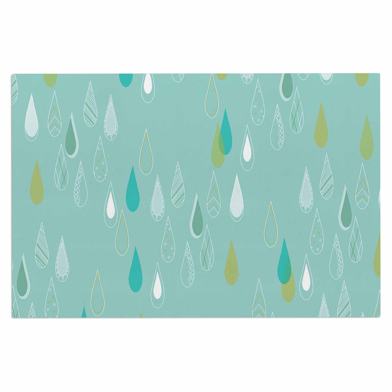 Kess InHouse Bridgette Burton Feathered Rain Teal Gold Decorative Door, 2' x 3' Floor Mat