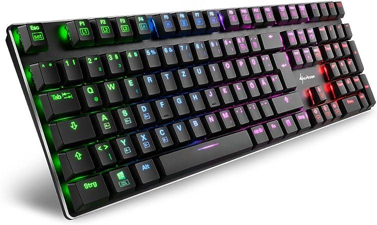 Sharkoon PureWriter RGB - Teclado mecánico de bajo Perfil (RGB, Interruptor Rojo, Teclas Planas, Efectos de iluminación, Cable USB extraíble), Color ...