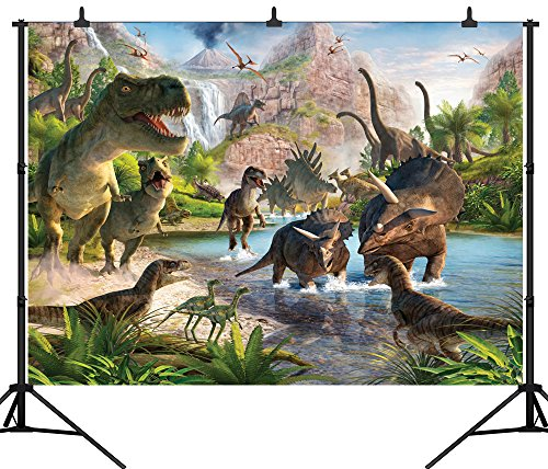 DePhoto 10X8FT(300X240CM) 3D Cartoon Dinosaur Seamless Vinyl Photography Backdrop Photo Background Studio Prop PGT130C