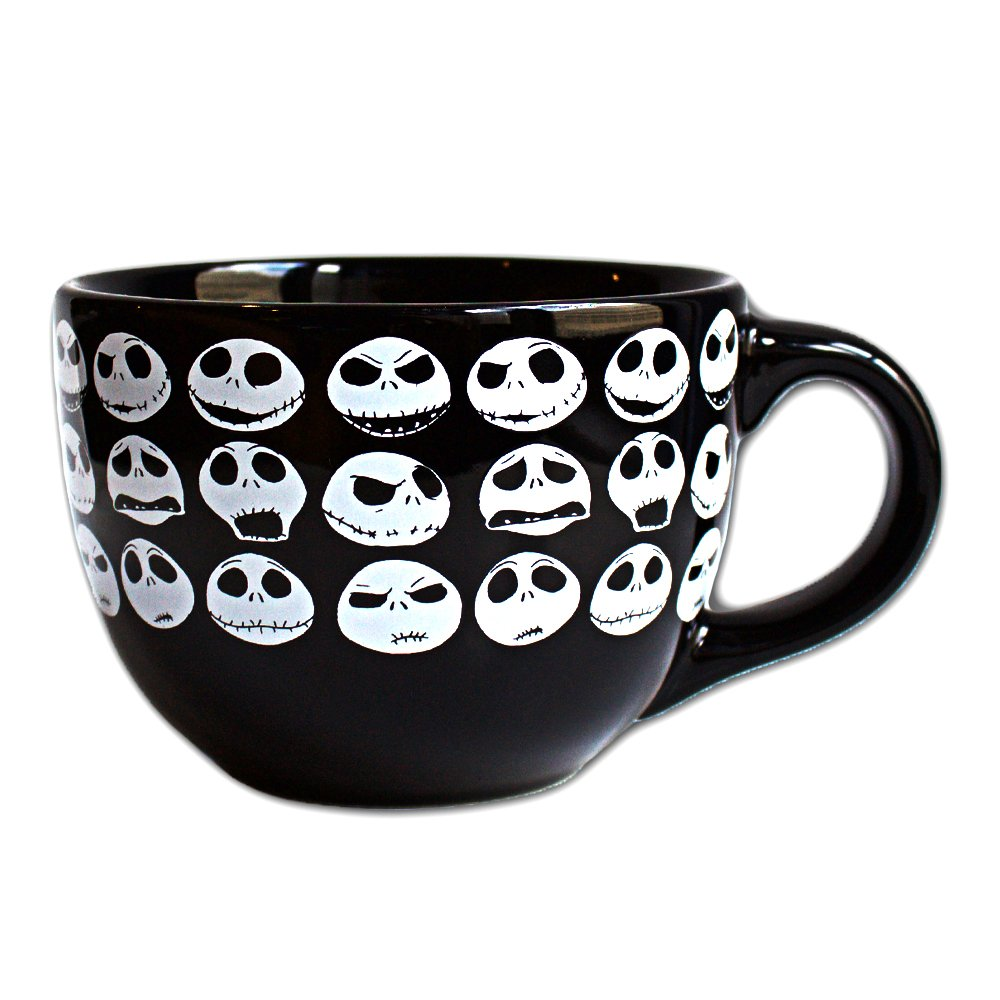 Disney NB4424 Silver Buffalo Nightmare Before Christmas Jack Face Ceramic Soup Mug, 24 oz, Multicolor