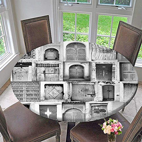 Luxury Round Table Cloth for Home use Poster from Moroccan doorways for Buffet Table, Holiday Dinner 40