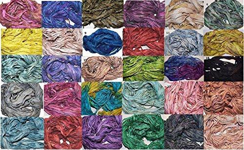Silk Sari Recycled Yarn (5 X 10 yards Choose you own colors Sari Pure Silk Ribbon Yarn (5 colors))