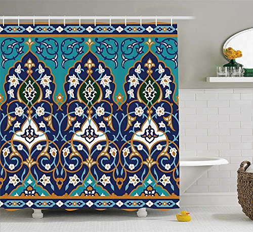 Nyngei Moroccan Shower Curtain Ottoman Folkloric Art Inspired Abstract Aged Middle Age Renaissance Artful Print Fabric Bathroom Decor Set with Hooks 70.8x70.8in Navy Blue (African Inspired Ties)