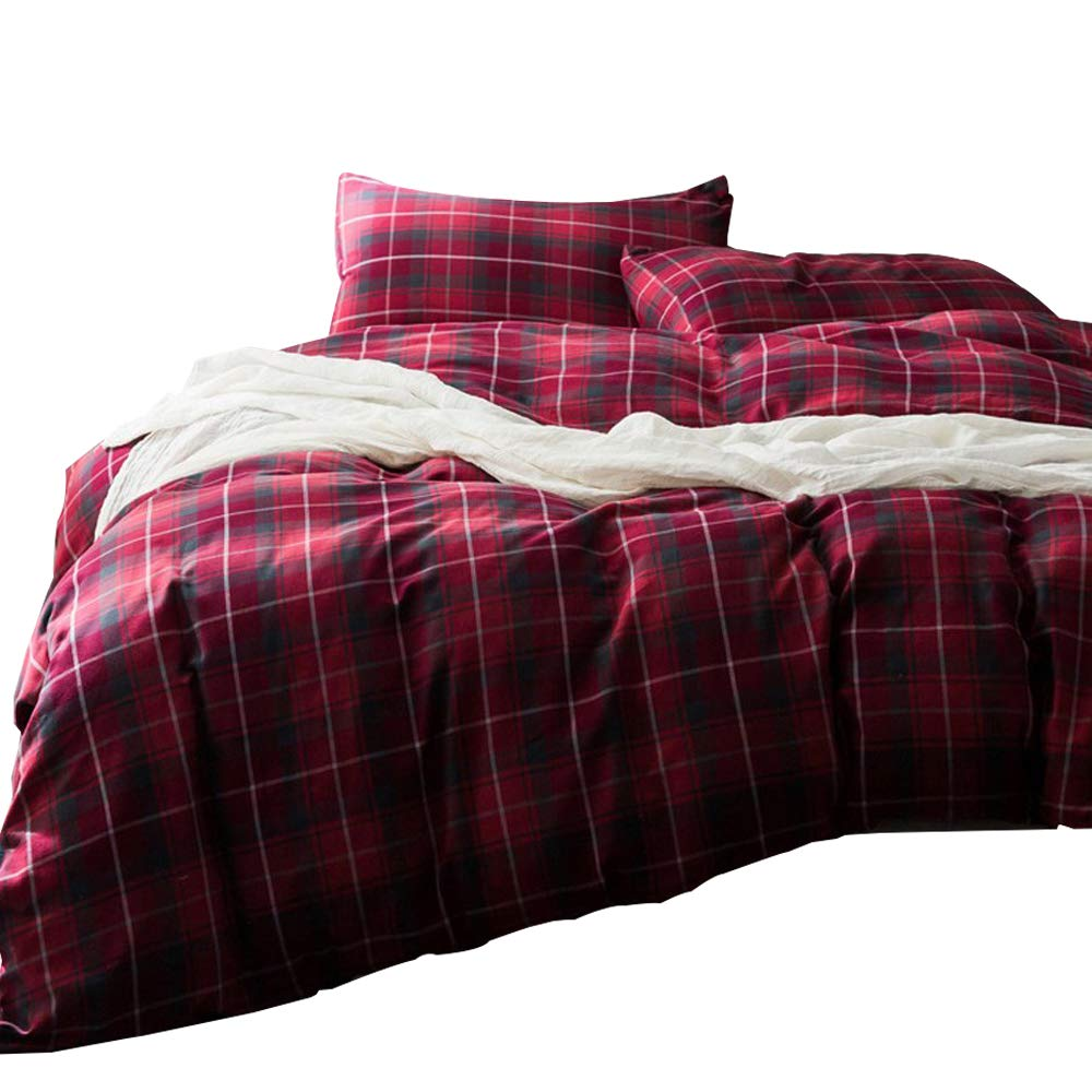 Red Plaid Geometric Bedding Sets Flannel Luxury Duvet Cover Sets King Size for Children Teens Adults Flannel Bedding Collection Grid Patterns Printed Soft and Warm Hotel Quality Comforter Cover Sets