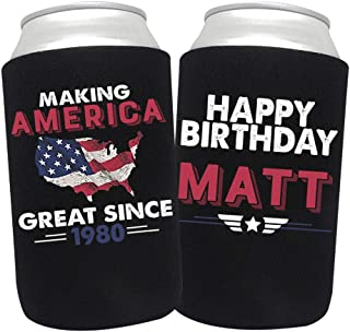 product image for Personalized Can Cooler Custom Can Coolies – Birthday Can Coolies - Fits 12-Ounce Cans and Bottles – Keeps Drinks Cold for Longer – Ideal for Travelling, Party Favors Making America Great 24 Pack