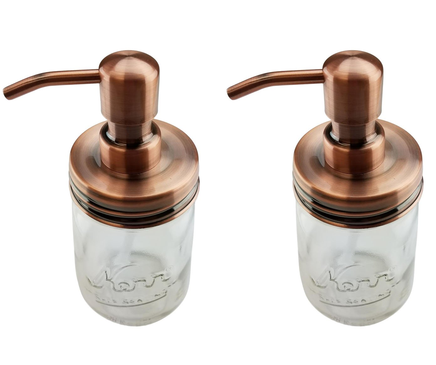 Nighthawk Copper Mason Jar Soap Dispenser Lids | Rust Proof Made of Stainless Steel | Bathroom/Kitchen Accessories 2 Pack Set - (Jar Not Included) (Copper, 2)