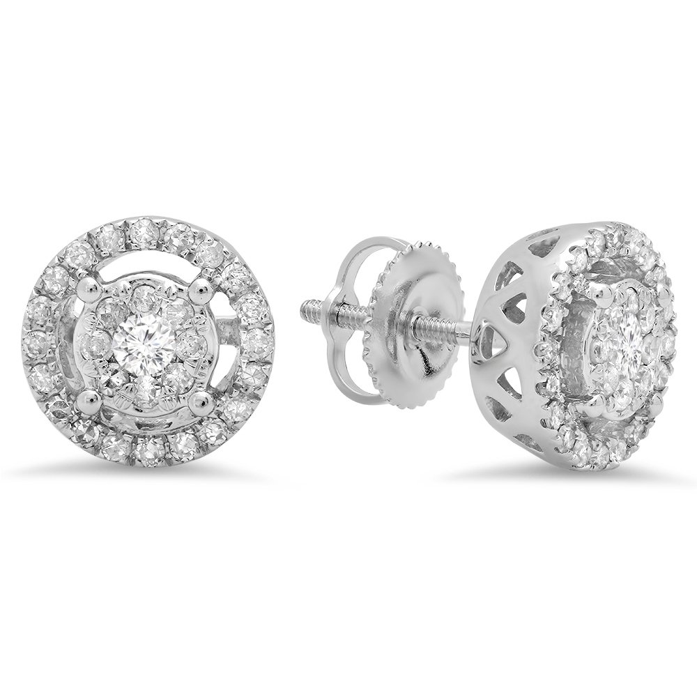 0.50 Carat (ctw) 14K White Gold Round White Diamond Ladies Cluster Style Stud Earrings 1/2 CT