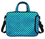 11.6-Inch Laptop Shoulder Messenger Carrying Bag Case Sleeve For 11' 11.6' 12' 12.5 inch Macbook/Notebook/Ultrabook/Chromebook, Mermaid Scale (Blue)