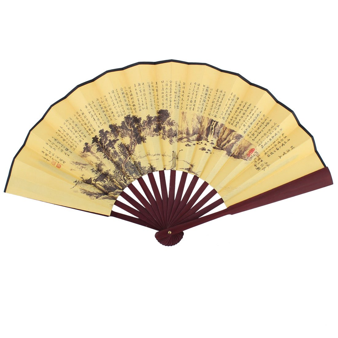 uxcell Bamboo Ribs Chinese Poems Landscape Pattern Man Summer Folding Cooling Hand Fan a16050600ux0301