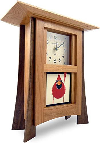 American Made Contemporary Cherry Wood Mantel Shelf Clock with Red Cardinal Art Tile, 12