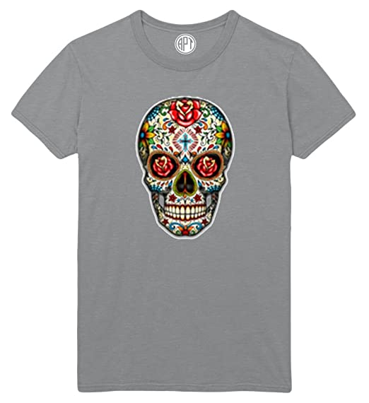 6fef2dec102fde Day of The Dead Sugar Skull with Roses Printed T-Shirt - Small - Athletic