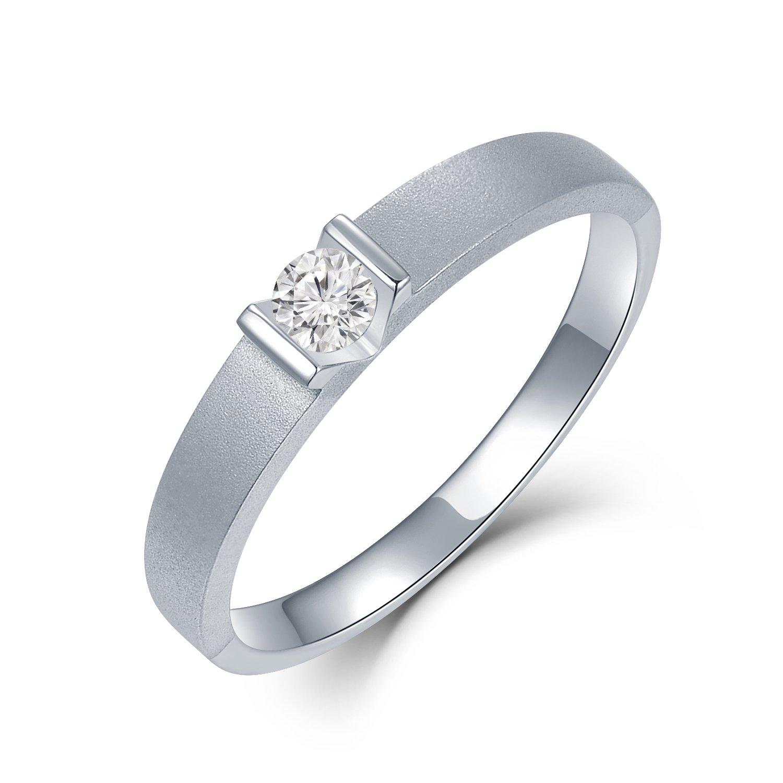 MaBelle 18K White Gold Solitaire Diamond V Shape On Sandblast Finished Men's Ring (0.11cttw)