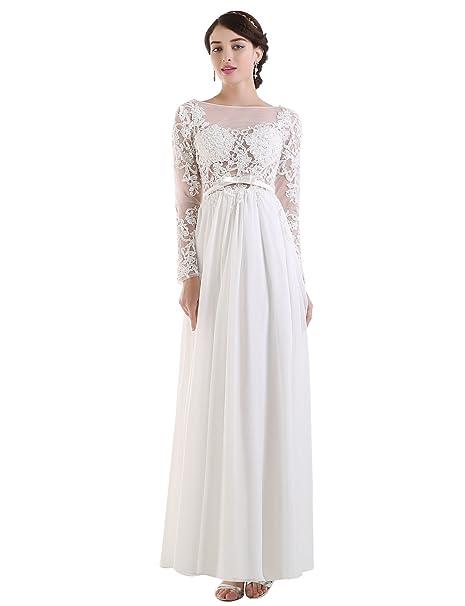 32ca0cd846bf Dressilyme elegante chiffon Bateau scollatura guaina abito da sposa con  perline pizzo Appliques Ivory 16W  Amazon.it  Abbigliamento