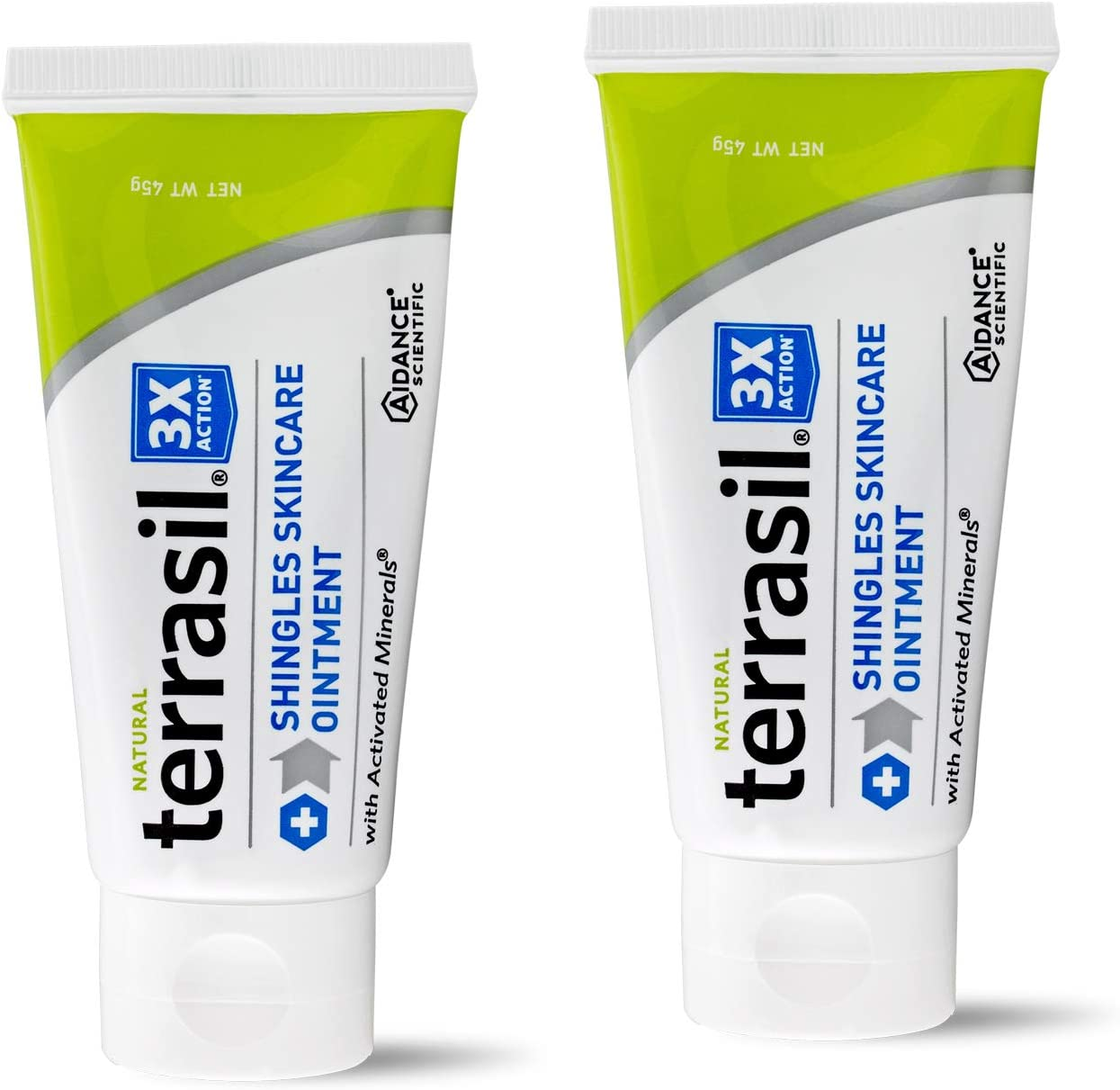 Shingles Treatment Cream - 3X Triple Action Patented Natural Formula for Herpes Zoster Outbreaks Causing Painful Rash and Nerve Pain by Terrasil - 45gm Tube 2-Pack