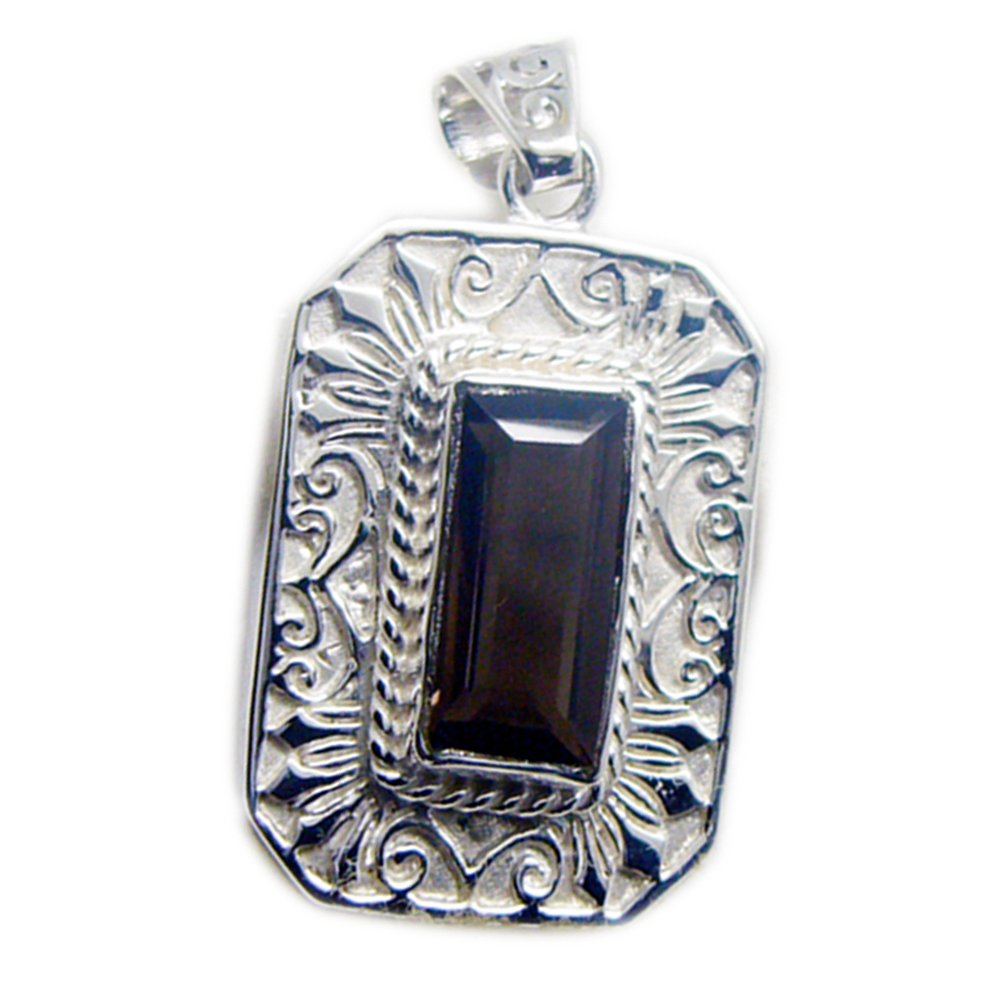 Jewelryonclick Genuine Smoky Quartz Silver Pendant for Women Charms Mixed Shape Astrological Necklace