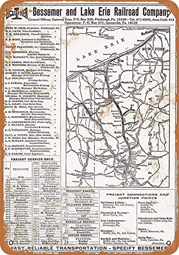 (Anwei Signs 12 x 16 Tin Sign - 1969 Bessemer Lake Erie Railroad - Metal Sign Vintage Look Garage Man Cave Retro Wall Decor)