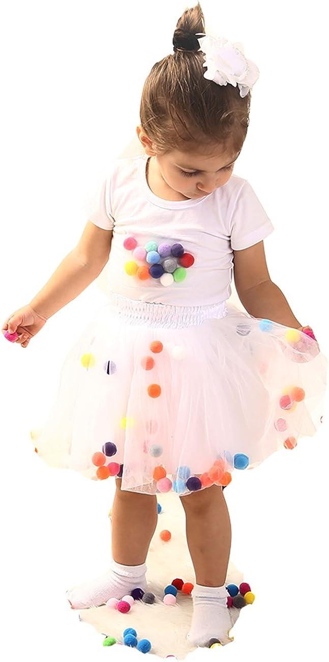 GoFriend Tutu Skirt Baby Girls Tulle Princess Dress 4-Layer Fluffy Ballet Skirt with Pom Pom Puff Ball