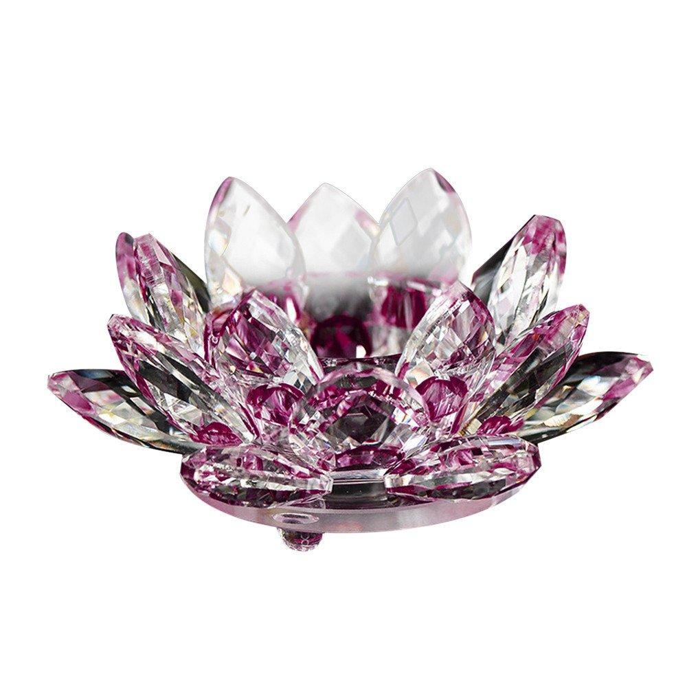 KEERADS Verre de Cristal Fleur de Lotus, 7couleurs Cristal Lotus Thé lumière Bougie support bougie Thé bouddhiste Candlestick- 8cm, Cristal, violet, 80mm