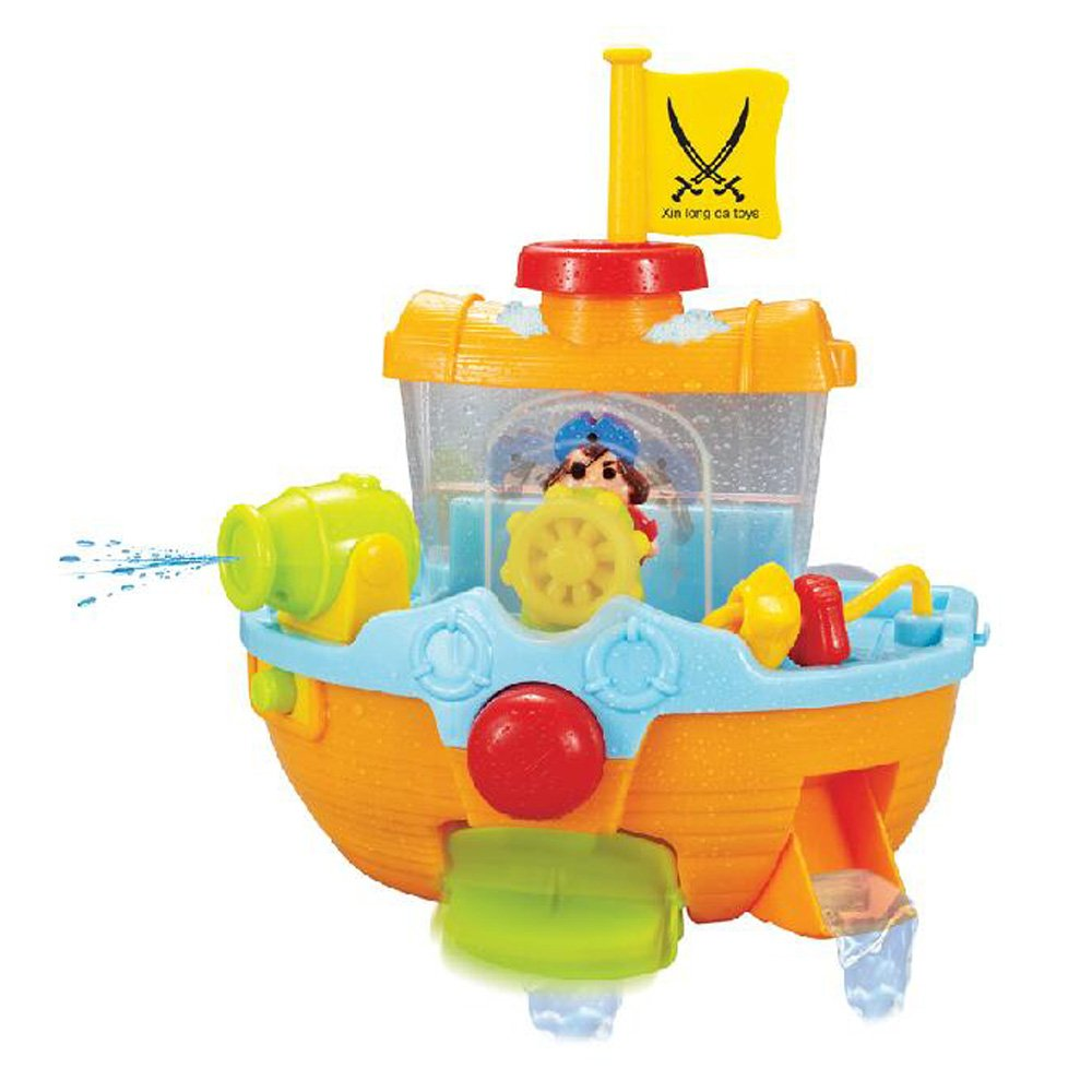Happytime Bathtime Pirate Ship Bathtub Bath Toy for kids with Water Cannon and Boat Scoop Use boat scoop to fill ship with water, side will open and release water, paddle will spin Press the big button and cannon fires a long stream of water Suction cups securely hold pirate ship to tub wall Bathtime fun for kids and toddlers