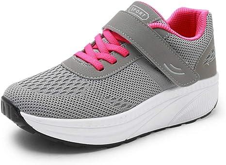 U-MAC Zapatillas de Running para Mujer, Fitness, Deporte, Cuñas, Zapatillas de Altura Aumentante, Plataforma al Aire Libre, Zapatillas de Paseo Tamaño Grande, 5 B(M) US, Gris: Amazon.es: Deportes y aire libre
