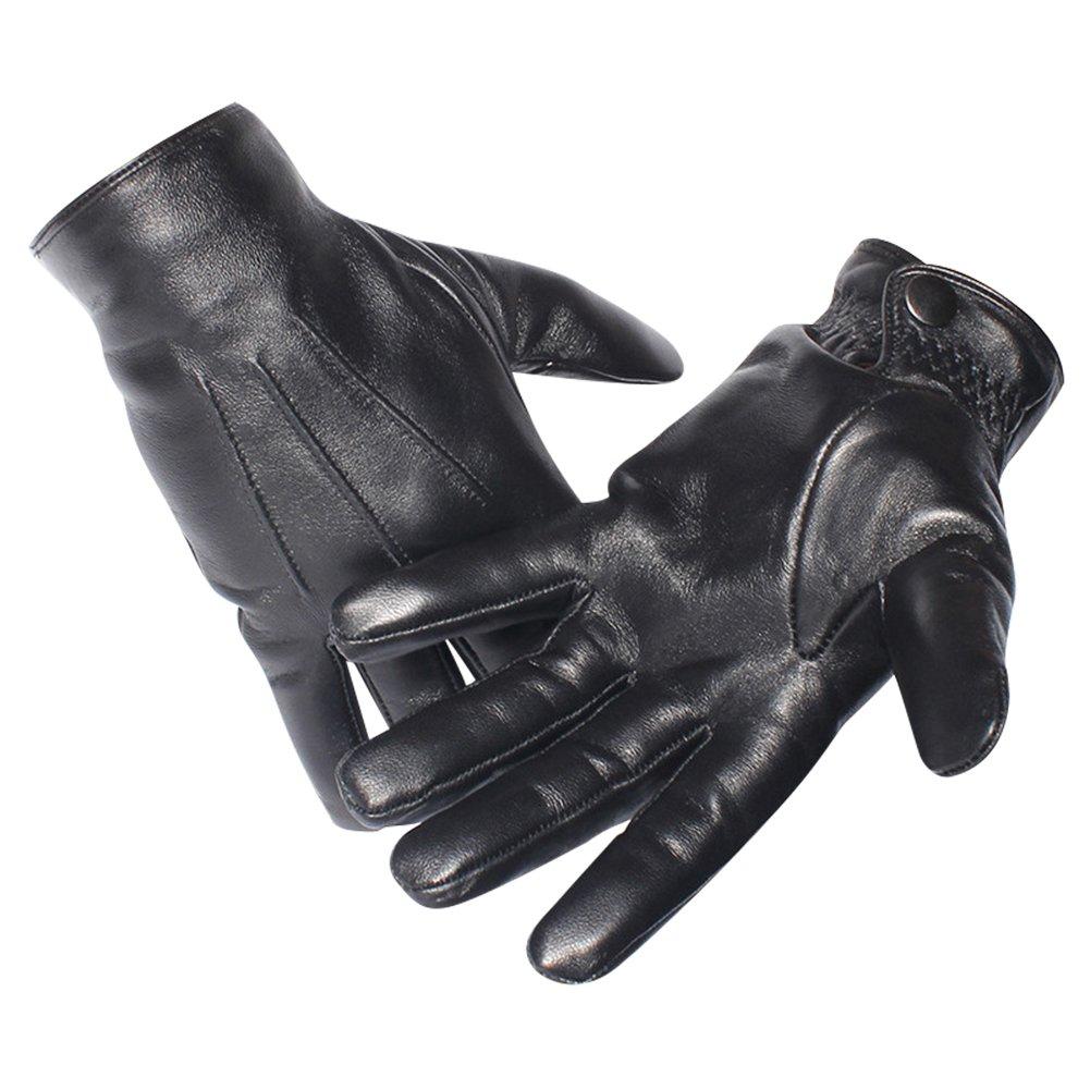 Magelier Leather Driving Gloves, Mens Winter Sheepskin Lambskin Nappa Dress Gloves Black, Large 10