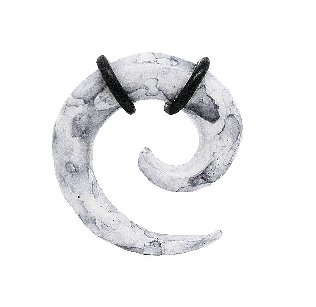 Pair of 8ga 3mm, 6ga 4mm, 4ga 5mm, 2ga 6mm, 0ga 8mm and 00ga 10mm Acrylic Earring Ear Plug Ring Spiral Tapers Curved Claw Expander Grey Marble Stripe Painted Korea