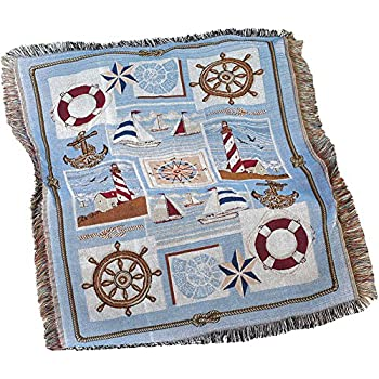 amazon com collections etc seaside nautical tapestry throw with