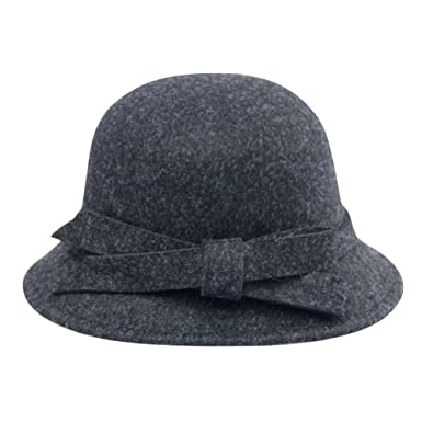 iShine Women Vintage Wool Round Fedora Cloche Cap Wool Felt Floppy Hat  Bowknot Winter Hat Warm 651dc0665766