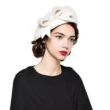 d2a6acbdb941de Image Unavailable. Image not available for. Colour: Womens Fascinators  Elegant Wool Felt Bow Berets Pillbox Hats Red White Black