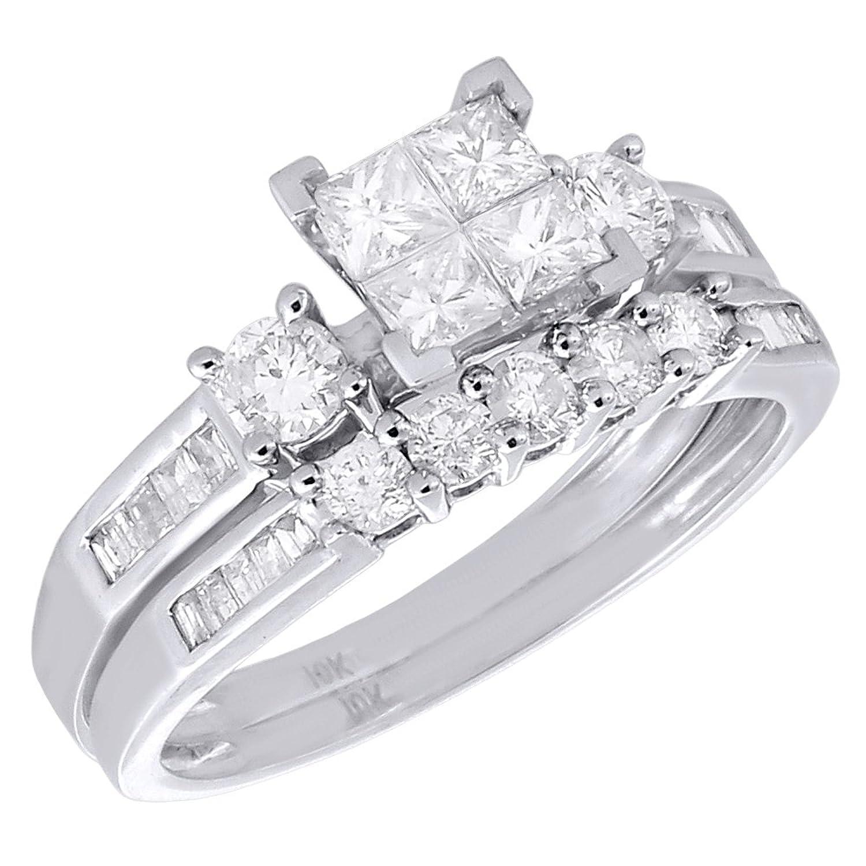 Amazon 10k White Gold Diamond Bridal Princess Baguette Round
